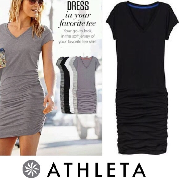 ed706632d90 Athleta Dresses   Skirts - Athleta Black V-Neck Topanga Ruched T-Shirt Dress